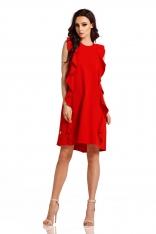 Czerwona Elegancka Sukienka bez Rękawów z Falbankami