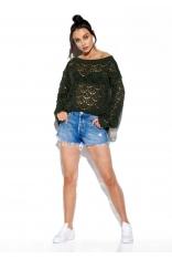 Lekki Sweter Oversize z Ażurem - Khaki