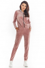 Krótka Welurowa Bluza na Suwak z Kapturem - Różowa