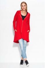 Asymetryczna Czerwona Długa Bluza z Kapturem