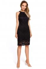 Czarna Koronkowa Dopasowana Sukienka z Holterem