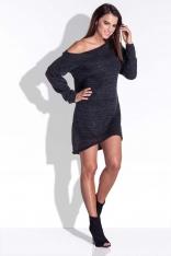 Czarna Sukienka Dzianinowa Asymetryczna z Długim Rękawem