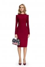 Bordowa Ołówkowa Sukienka Midi z Mini Stójką
