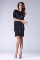 Czarna Mini Ołówkowa Sukienka z Dżetami