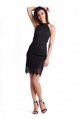 Czarna Ołówkowa Sukienka z Gipiurą
