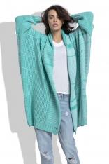 Zielony Długi Ażurowy Kardigan z Kolorowymi Paskami