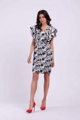 Stylowa Sukienka Ołówkowa z Falbankami na Ramionach