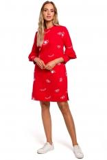 Czerwona Wzorzysta Sukienka o Lini A z Falbankami