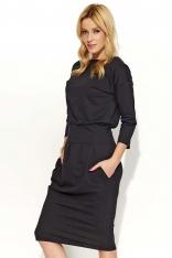 Czarna Sukienka Bombka z Kieszeniami