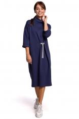 Niebieska Dzianinowa Sukienka z Wiązaniem w Pasie