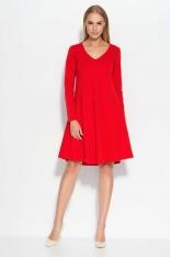 Czerwona Sukienka Luźna z Dekoltem w Szpic
