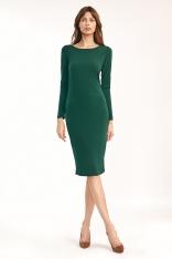 Dopasowana Sukienka z wycięciem na Plecach - Zielona