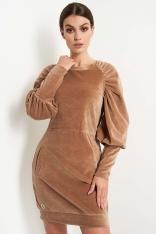 Welurowa Krótka Sukienka z Bufiastym Rękawem - Kamelowa