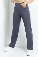 Dresowe Spodnie z Prostymi Nogawkami - Grafitowe