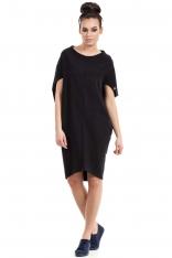 Czarna Sukienka-Tunika z Geometrycznymi Cięciami