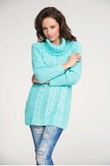 Miętowy Sweter z Warkoczem z Dużym Golfem