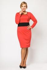 Klasyczna Czerwona Sukienka z Kontrastowym Panelem PLUS SIZE