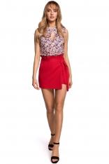 Czerwona Krótkie Spódnico -Spodnie z Falbanką