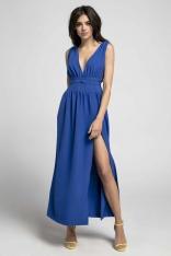 Kobaltowa Maxi Sukienka z Dekoltem w Kształcie Litery V