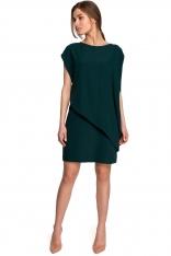Krótka Dwuwarstwowa Sukienka - Zielona