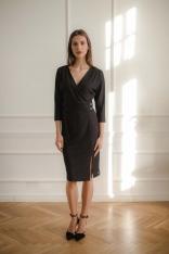 Czarna Dopasowana Sukienka z Kopertowym Dekoltem