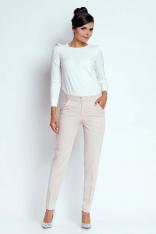 Beżowe Eleganckie Spodnie Cygaretki