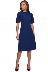 Sukienka z Kopertowym Dołem - Granatowa