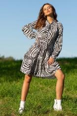 Sukienka z Motywem Zebry z Wiązaniem