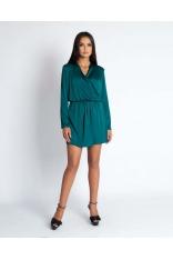 Zielona Krótka Wizytowa Sukienka z Kopertowym Dekoltem