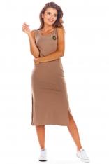 Beżowa Bawełniana Dopasowana Sukienka z Rozporkami