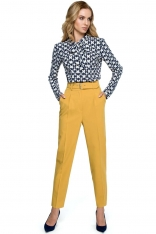 Żółte Klasyczne Spodnie w Kant z Wysokim Stanem