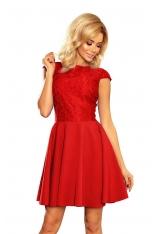 Czerwona Sukienka Elegancka Rozkloszowana z Koronką