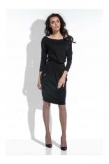 Czarna Sukienka Midi z Zaznaczoną Talią