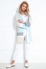 Błękitny Kolorowy Płaszczowy Kardigan z Kapturem
