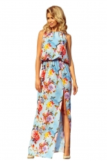 Błękitna Maxi Sukienka Wiązana na Szyi w Kwiaty
