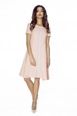 Różowa Sukienka Wizytowa z Pionową Plisą na Przodzie