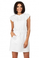 Biała Sportowa Mini Sukienka z Kapturem