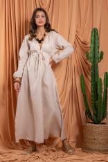Beżowa Maxi Lniana Sukienka w Stylu Boho - Beżowa