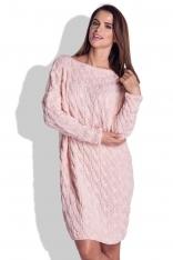 Różowa Sukienka Swetrowa Luźna w Warkocze