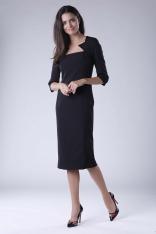 Czarna Elegancka Dopasowana Sukienka za Kolano z Dekoltem Caro