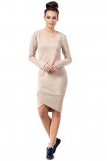 Beżowa Dopasowana Sukienka z Asymetrycznymi Ściągaczami