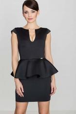 Czarna Elegancka Sukienka z Baskinką z Rozcięciem przy Dekolcie