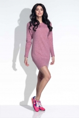 Różowa Sukienka Swetrowa Tuba z Warkoczem