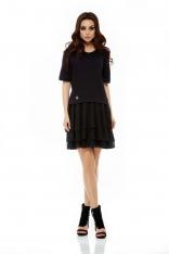 Czarna Sukienka Wizytowa Mini z Rękawem ¾