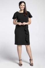 Czarna Elegancka Sukienka ze Zwiewnym Rękawem PLUS SIZE