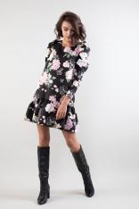 Klasyczna Dopasowana Sukienka z Ozdobnym Pasem w Kwiaty