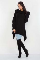 Czarny Luźny Długi Sweter z Kominem