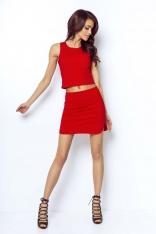 Czerwona Asymetryczna Mini Spódnica na Gumie