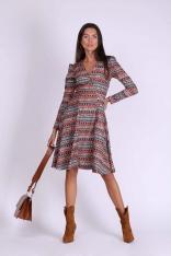 Boho Rozkloszowana Sukienka Kopertowa z Długim Rękawem