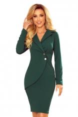 Żakietowa Sukienka z Ozdobnymi Guzikami - Zielona Mat